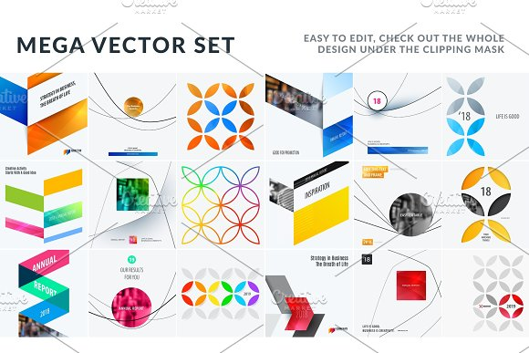 Set Of Abstract Vector Design For Graphic Template Creative Modern Business Background
