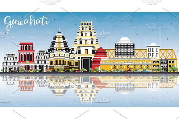 Guwahati India City Skyline