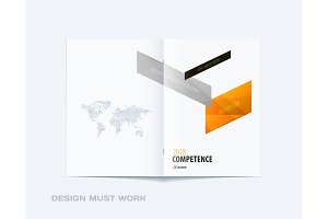 Abstract brochure design, modern annual report, centerfold cover, flyer in A4 with colourful arrows