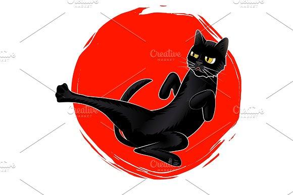 Cute Karate Black Cat