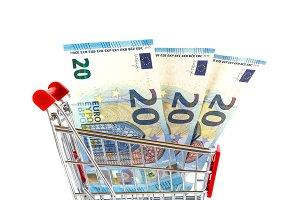 Market cart with money