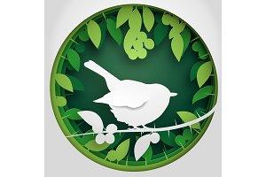 Paper bird on Blackthorn