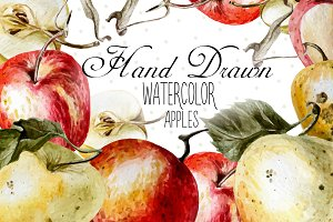 Beautiful watercolor apples