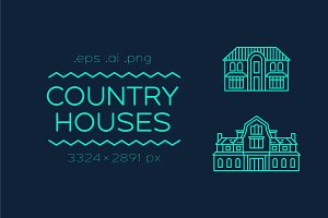 Set of icons of country houses