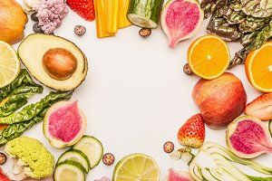 Colorful fruits and vegetables frame