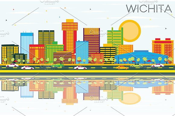 Wichita Kansas USA City Skyline