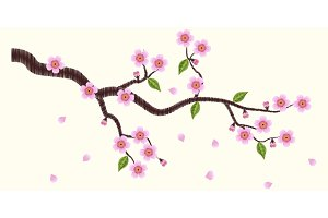 Blooming sakura branch embroidery