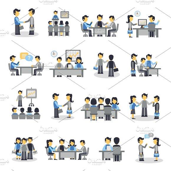 Meeting Icons Flat Set