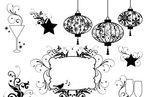 New Year Silhouettes Vectors/Clipart