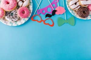 Donuts and party accessories