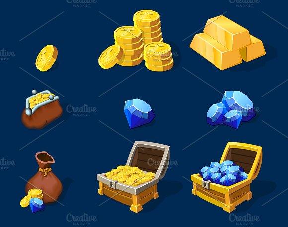 Cartoon Treasure Elements Set