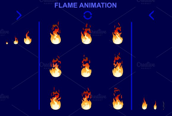 Bright Fire Flame Animation Set