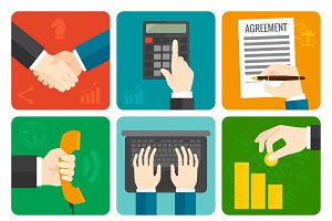 Business hands flat icons set