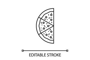 Half of pizza linear icon