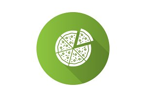 Pizza with one slice separated flat design long shadow glyph icon