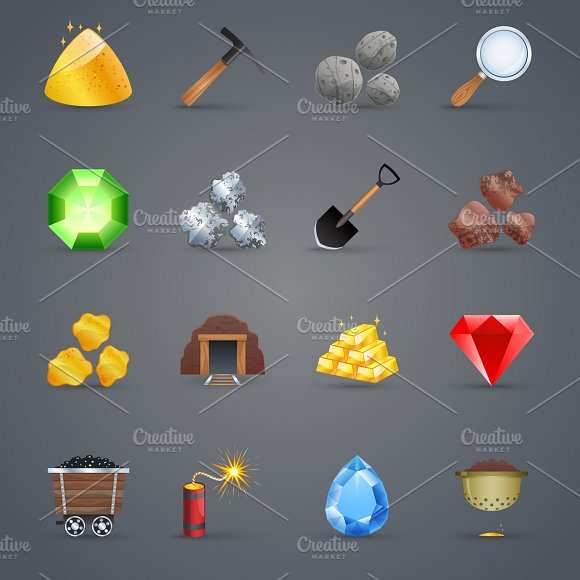 Mining Strategy Game Cartoon Icons