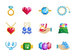 Precious jewels icons flat set