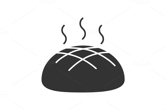 Fresh Round Rye Bread Loaf Glyph Icon