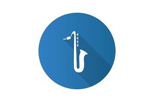Saxophone flat design long shadow glyph icon