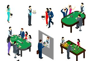 Casino and people isometric set