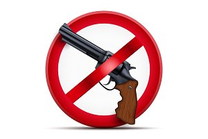Sign with gun and symbol Stop arming