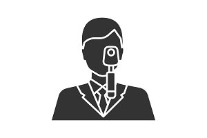 Doctor with ophthalmoscope glyph icon