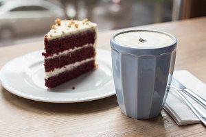 red velvet cake and latte