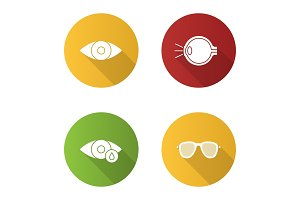 Ophtalmology flat design long shadow glyph icons set