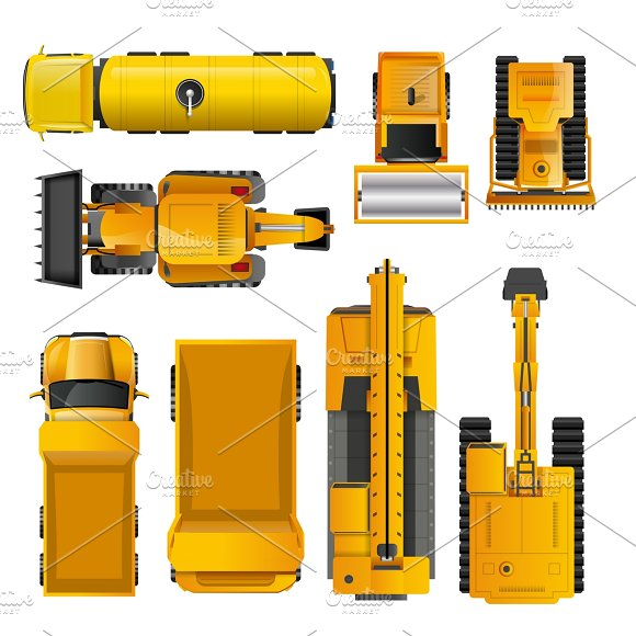 Construction Machines Top View