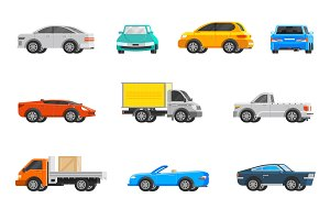 Vehicles orthogonal icons set