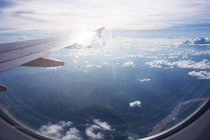 clouds and wing of airplane