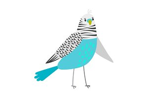 Blue cartoon parrot