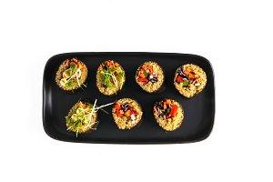 Vegan sushi rolls, isolated