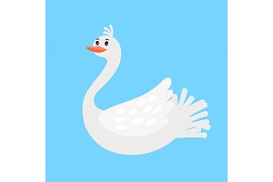 Swan funny cartoon bird icon
