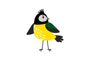 Yellow cartoon tit bird