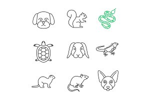 Pets linear icons set