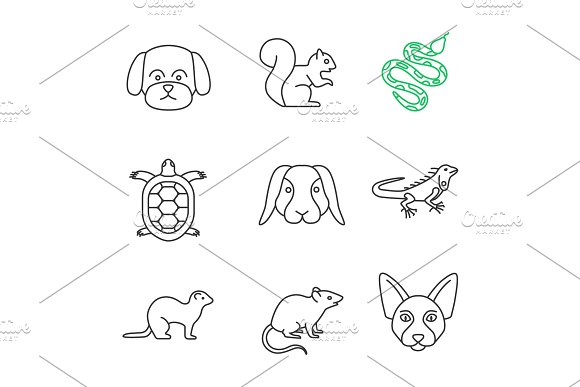 Pets Linear Icons Set