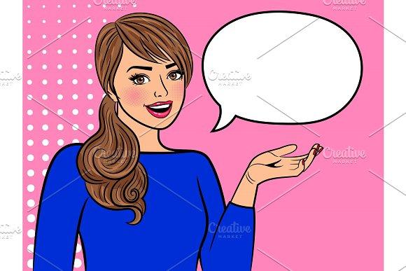 Retro Girl With Empty Speech Bubble