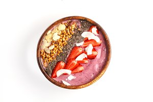 Strawberry smoothie bowl, isolate