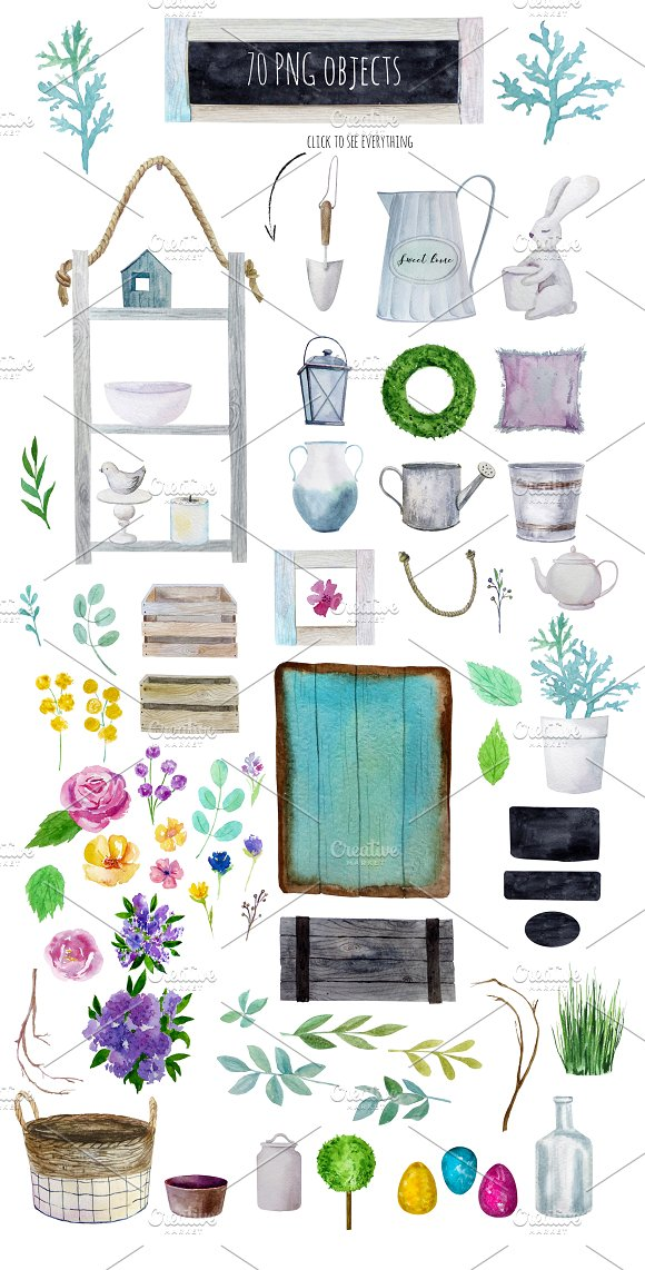 Farm House DECOR Watercolor Set