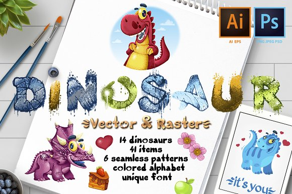 Dinosaurs Vector And Raster
