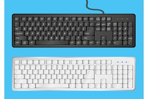 White and Black computer keyboards on blue background. Vector illustration