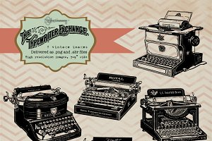 Vintage Typewriter Clipart & Brushes