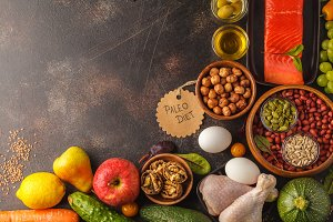 Paleo diet food background