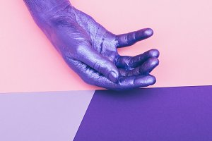 painted pearly purple hand