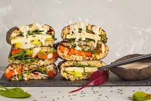 Vegan sushi sandwich onigirazu