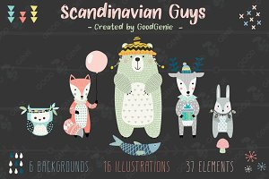 Scandinavian Guys. Graphic set