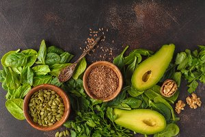 Green salad vegan food background