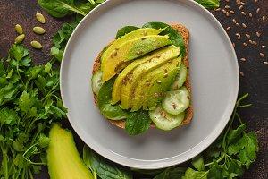 Fresh breakfast avocado sandwich.
