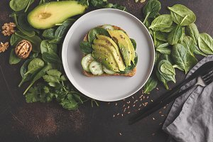 Fresh breakfast avocado sandwich.
